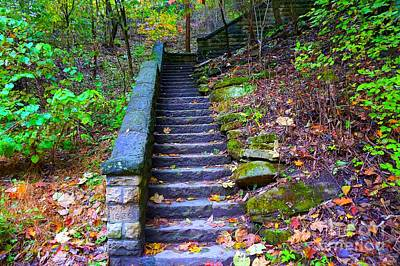 Photograph - Stone Staircase In Autumn by Christopher Shellhammer