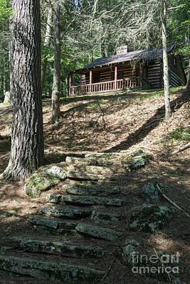 Photograph - Stone Steps Lead Up Fo A Log Cabin For Guests At Lost River Stat by William Kuta