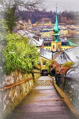 Winter Scene Photograph - Stone Steps Of Kapuzinerberg Salzburg In Winter by Carol Japp