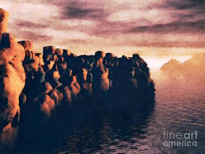 Digital Art - Stone Wall At Sea by Phil Perkins