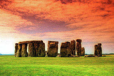 Royalty-Free and Rights-Managed Images - Stonehenge with Red Sky by David Smith