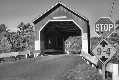 Photograph - Stop At The Carleton Covered Bridge Black And White by Adam Jewell
