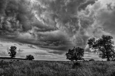 Photograph - Storming Over The Pasture Black And White by Dale Kauzlaric