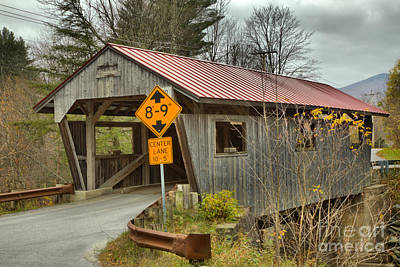 Photograph - Storms Over The School Street Covered Bridge by Adam Jewell