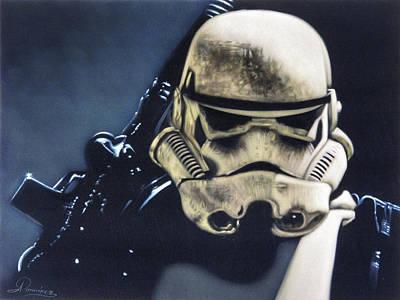 Stormtrooper Star Wars Storm Trooper Original Oil Painting Black Velvet R073 Original