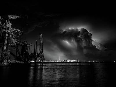 Rowing Royalty Free Images - Stormy Night Black and White Royalty-Free Image by Jerry Connally