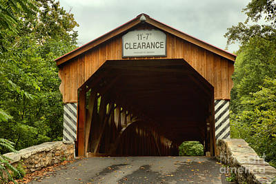 Photograph - Stormy Skies Over The Academia Covered Bridge by Adam Jewell