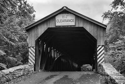 Photograph - Stormy Skies Over The Academia Covered Bridge Black And White by Adam Jewell