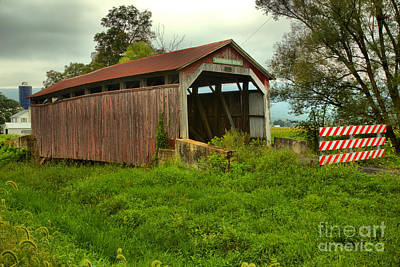 Photograph - Stormy Skies Over The Kochenderfer Covered Bridge by Adam Jewell