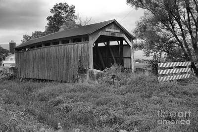 Photograph - Stormy Skies Over The Kochenderfer Covered Bridge Black And White by Adam Jewell