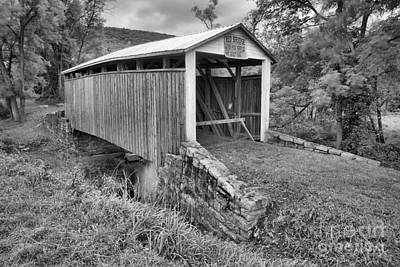 Photograph - Stormy Skies Over The Red Coverd Bridge Black And White by Adam Jewell