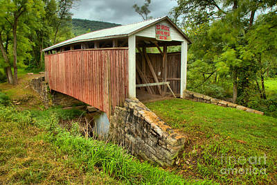 Photograph - Stormy Skies Over The Red Covered Bridge by Adam Jewell