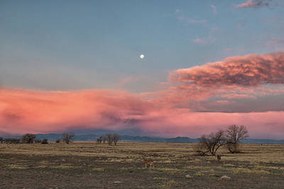 Photograph - Stormy Sunrise Clouds And A Setting Moon by Tony Hake
