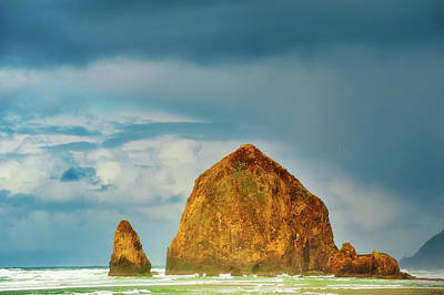 Photograph - Stormy Weather At Haystack Rock  by Dee Browning