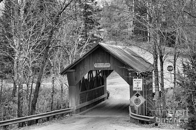 Photograph - Stowe Hollow Covered Bridge Black And White by Adam Jewell