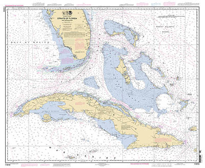 Digital Art - Straits Of Florida Nautical Chart by Paul and Janice Russell