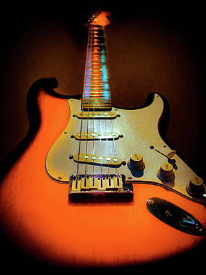Digital Art - Stratocaster Triburst Glow Neck Series by Guitar Wacky