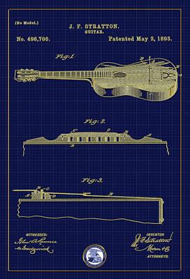 Digital Art - Stratton Guitar Patent Drawing by Carlos Diaz
