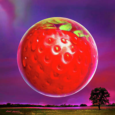Digital Art - Strawberry Moon  by Robin Moline