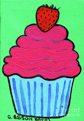 Royalty-Free and Rights-Managed Images - Strawberry Pink Cupcake by Genevieve Esson