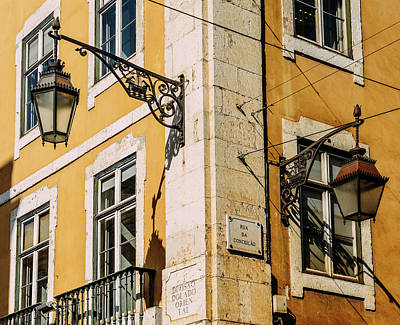 Photograph - Street Corner With Street Lamps Of The Old City Of Lisbon, Portugal by Alexandre Rotenberg