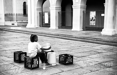 Photograph - Street Drummer Sets Up At Jackson Square New Orleans by John Rizzuto