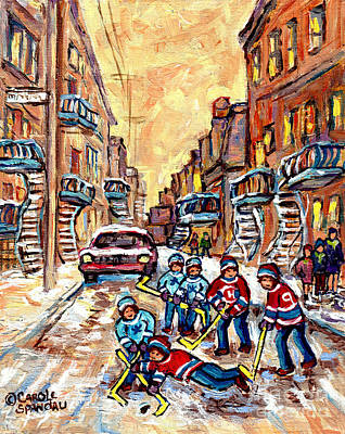 Painting - Street Hockey Game 4th Ave Verdun Montreal Art C Spandau City Scene Painting                         by Carole Spandau