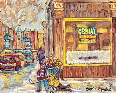 Painting - Street Hockey On The Avenues 3rd And Wellington Verdun Genial Coiffure Winter Scene C Spandau Artist by Carole Spandau