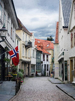 Photograph - Street In Bergen, Norway by Whitney Leigh Carlson