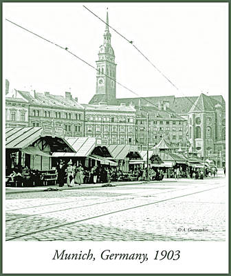 Photograph - Street Market, Munich, Germany, 1903 by A Gurmankin