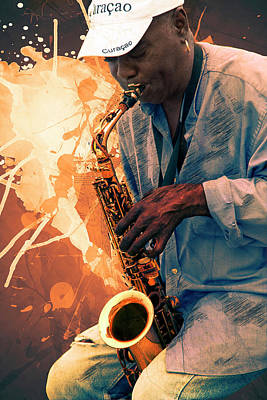 Digital Art - Street Sax Player by Max Huber