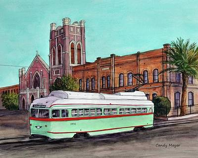 Wall Art - Painting - Streetcar And Sacred Heart by Candy Mayer