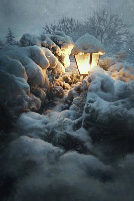 Vermeer Rights Managed Images - Streetlamp in the Snow Royalty-Free Image by Scott Norris
