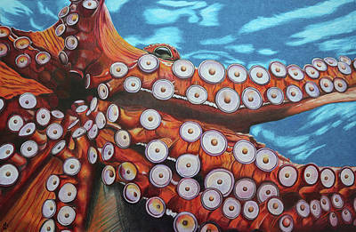 Painting - Octopus - Stretching Out Those Tentacles by Melanie Feltham