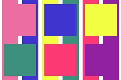 Digital Art - Stripe Square - Spring - On White by REVAD David Riley