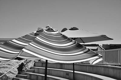 Photograph - Striped Umbrellas In Black And White by Kae Cheatham