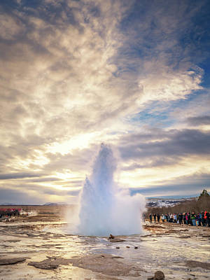 Photograph - Strokkur Erupting  by Framing Places