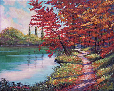 Impressionism Paintings - Stroll Along The Lakeshore by David Lloyd Glover