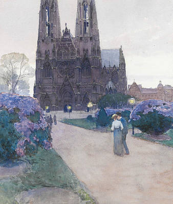 Drawing - Stroll In The Gardens Of The Votivkirche, Vienna by Carl Moll