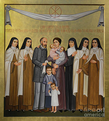 Painting - Sts. Louis And Zelie Martin With St. Therese Of Lisieux And Siblings by Paolo Orlando
