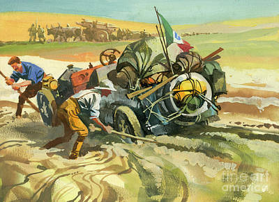 Painting - Stuck In The Dirt During A Ten Thousand Mile Motor Race by Ferdinando Tacconi