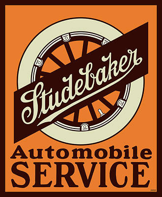 Transportation Digital Art Rights Managed Images - Studebaker Auto Sign Royalty-Free Image by Greg Joens