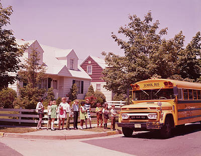 Students Waiting To Board Bus Art Print by H. Armstrong Roberts