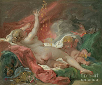 Painting - Study For Danae And The Shower Of Gold by Francois Boucher