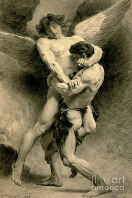 Drawing - Study For Jacob Wrestling With The Angel, 1876 by Leon Joseph Florentin Bonnat