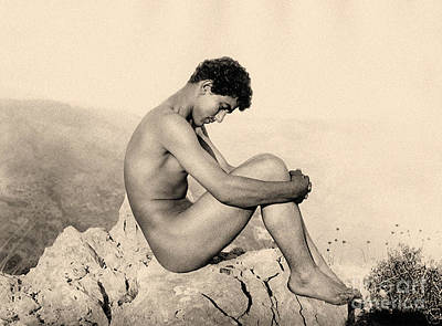 Photograph - Study Of A Male Nude On A Rock, Taormina, Sicily, Sepia Photo by Wilhelm von Gloeden