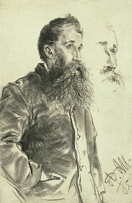 Drawing - Study Of A Man With A Beard, His Hand In His Pocket by Adolph Menzel