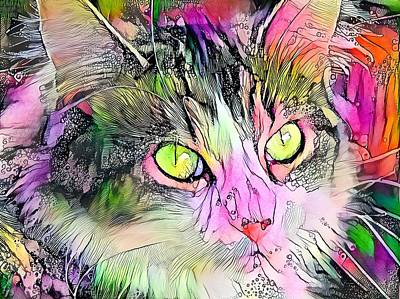 Kids Alphabet - Stunning Watercolor Cat Face Green Eyes by Don Northup