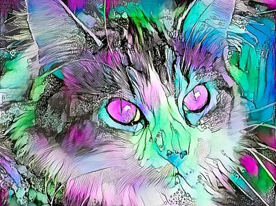 Recently Sold - Animals Digital Art - Stunning Watercolor Cat Face Purple Eyes by Don Northup