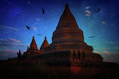 Photograph - Stupas At Nightfall by Chris Lord